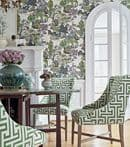 Thibaut Asian Scenic Wallpaper in Coral and Green